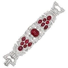 Important Platinum Bracelet Cabochon Rubies 60+ Carat and Diamonds 38.65 Carat
