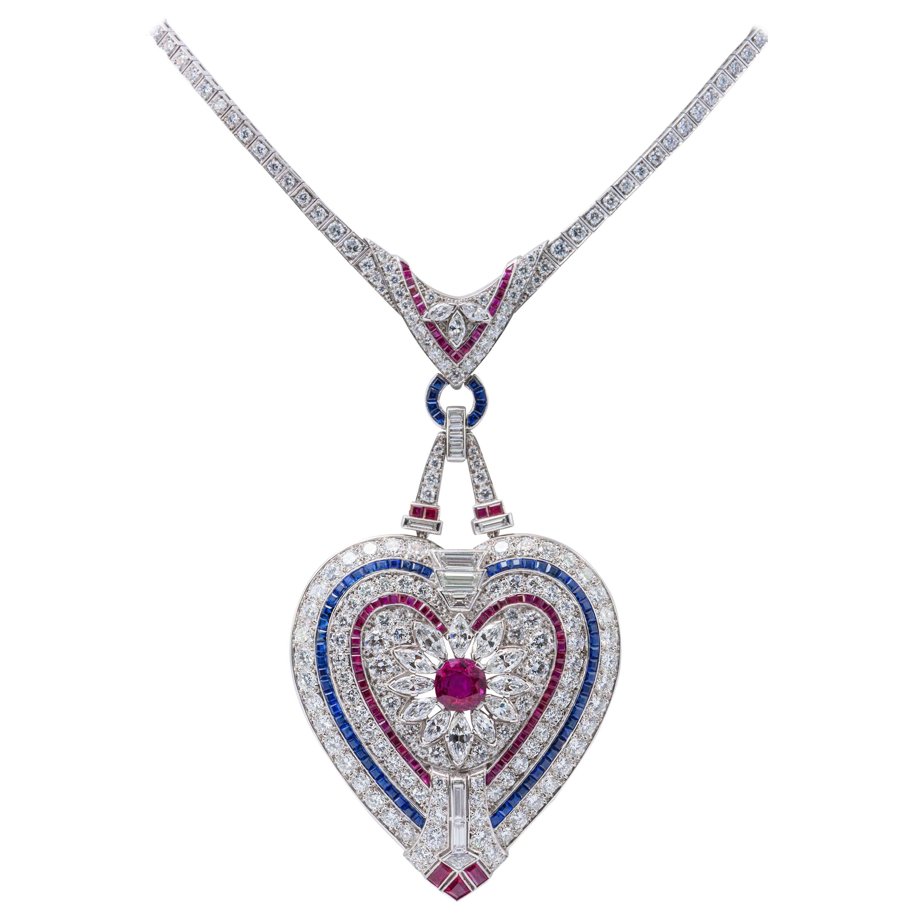 b6c54a28c Important Platinum Diamond Ruby and Sapphire Heart Pendant Necklace at  1stdibs