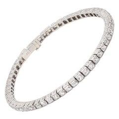Important Platinum French Cut Diamond Line Bracelet