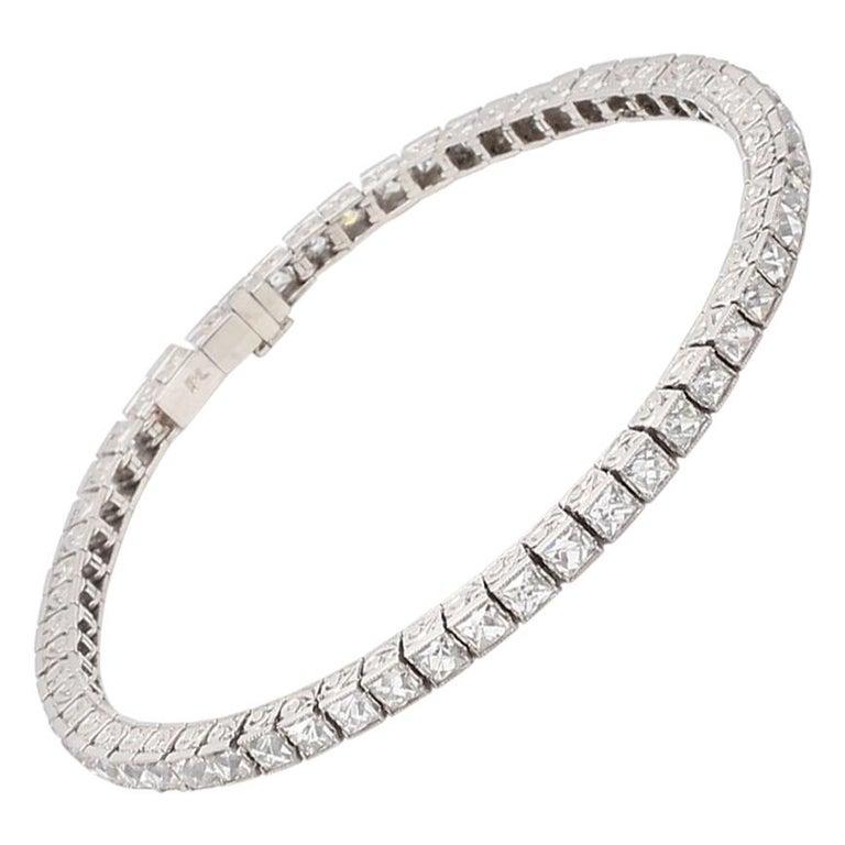 Important Platinum French Cut Diamond Line Bracelet For Sale