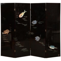 "Important ""Poissons"" Lacquer Screen, by Leon Jallot"
