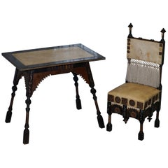Important & Rare Original circa 1900 Carlo Bugatti Occasional Table & Chair Set