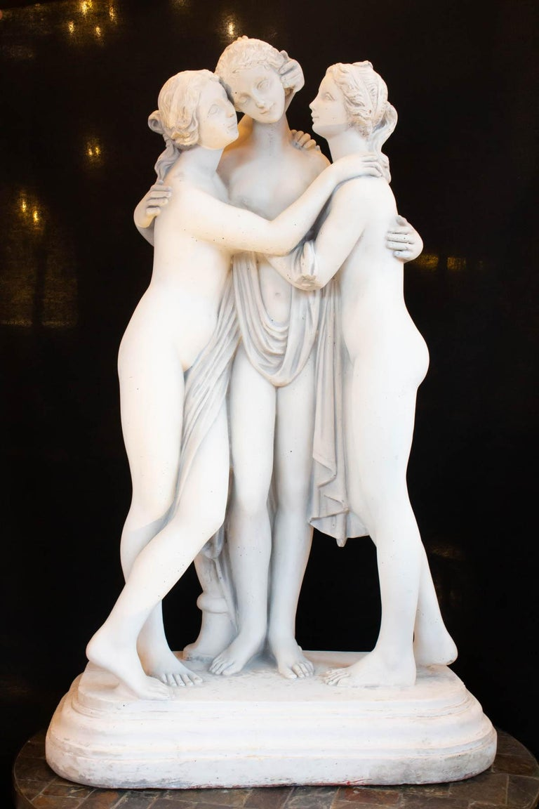 Renaissance Important Reconstructed Stone Sculpture Representing The 3 Graces, 20th Century For Sale