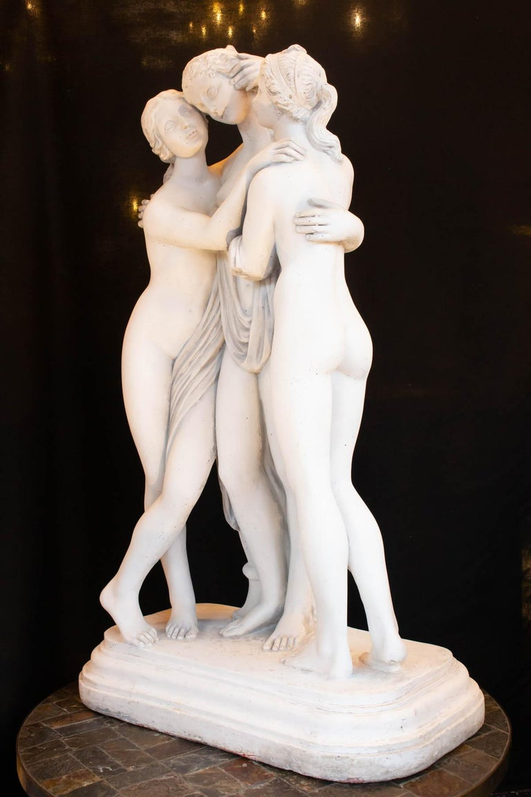 Important Reconstructed Stone Sculpture Representing The 3 Graces, 20th Century For Sale 1
