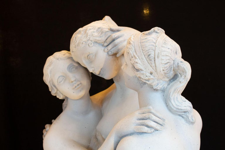Important Reconstructed Stone Sculpture Representing The 3 Graces, 20th Century For Sale 2