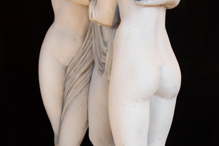 Important Reconstructed Stone Sculpture Representing The 3 Graces, 20th Century For Sale 3
