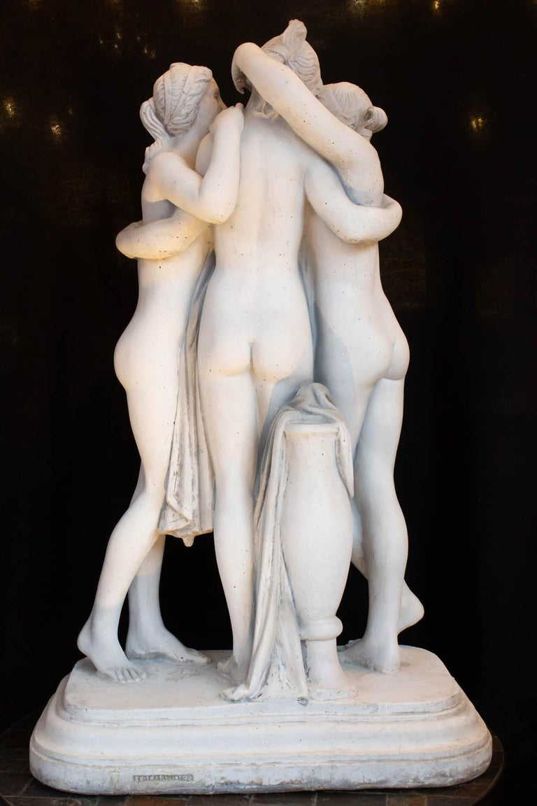 Important Reconstructed Stone Sculpture Representing The 3 Graces, 20th Century For Sale 4