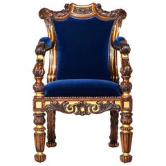 Important Regency Rosewood Parcel Gilt Armchair, attributed to Gillows