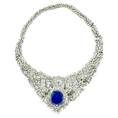 Important Retro Diamond Statement Necklace with 39 Carat Cabochon Sapphire