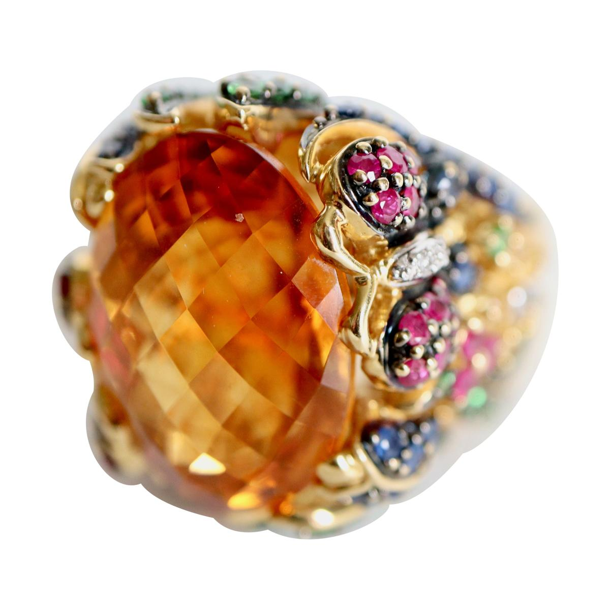 Important Ring with Foliage Pattern, Citrine, Sapphires Rubies Tsavorite Diamond