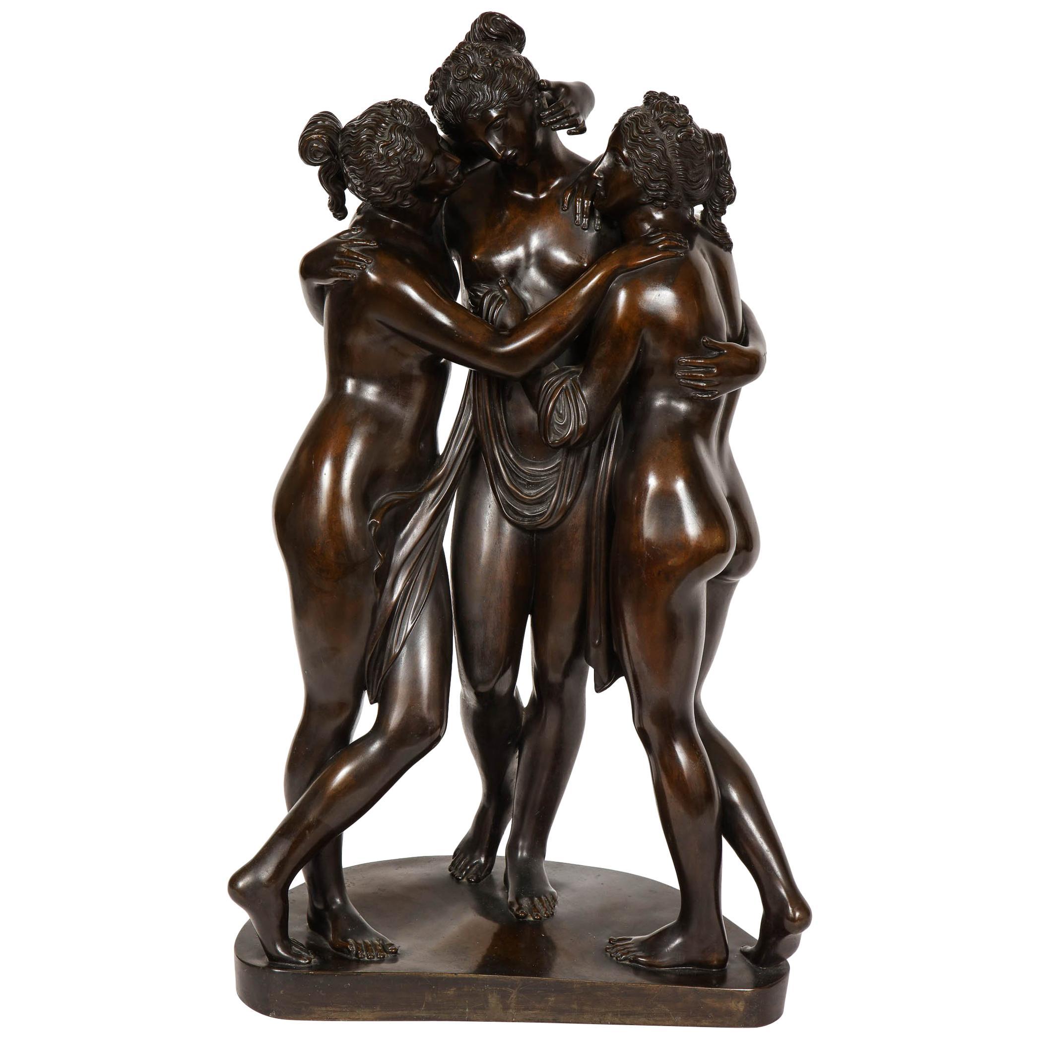Important Roman Patinated Bronze Sculpture of Three Graces after Antonio Canova