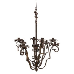 Important Round Chandelier in Italian Baroque Forged Iron