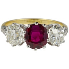 Important Ruby Diamond Antique Ring
