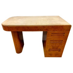 Important Samuel Marx Art Deco Burled Oak Writing Desk