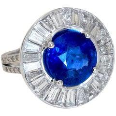 Sapphire Diamond Platinum Statement Ring