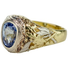 Important Sapphire Ring GIA Certified Unheated English Arts & Crafts