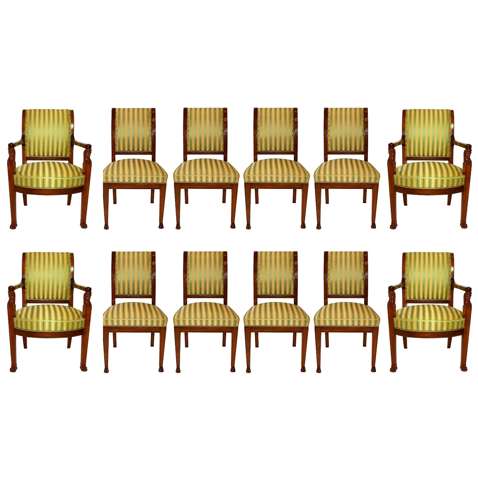 Important Set of 12 French Empire Mahogany Dining Chairs, Jacob Freres