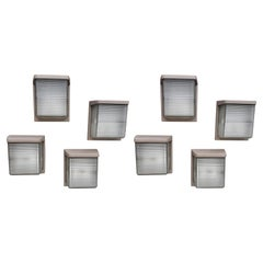 Important Set of 31 Sconces in Cast Aluminum Lacquered and Glass, circa 1950