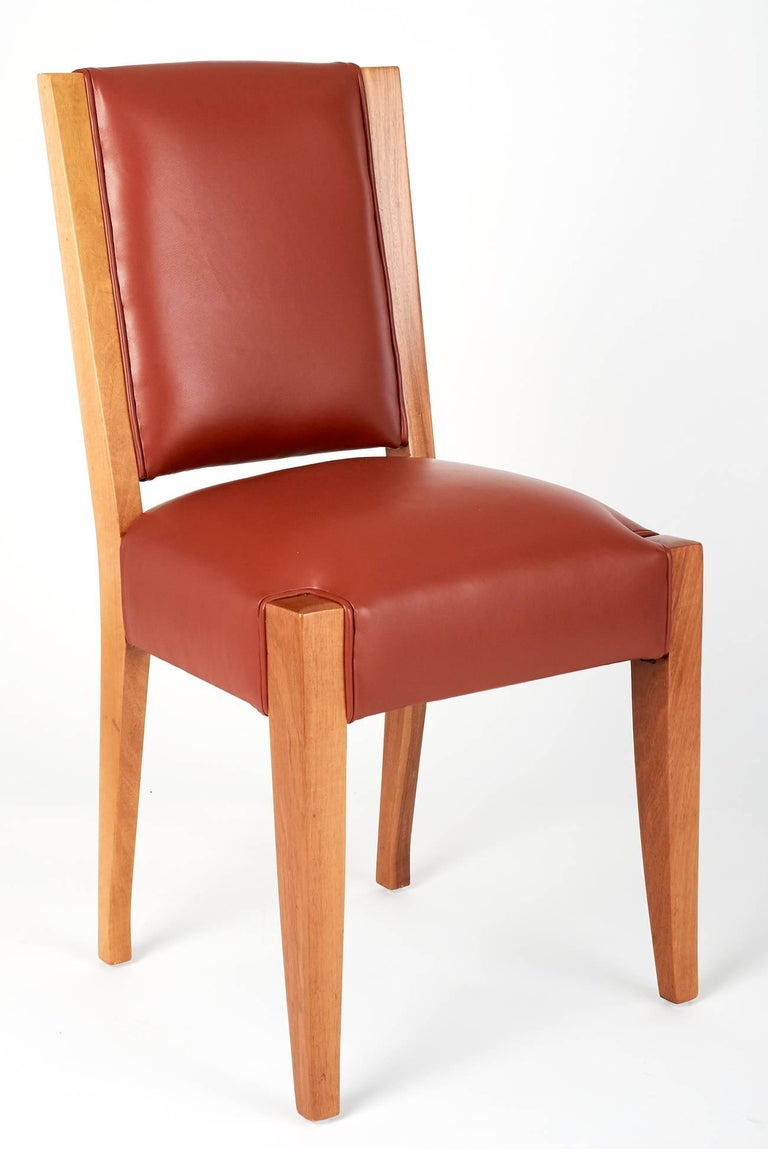 French André Sornay, Important Set of Six Walnut & Leather Dining Chairs, France 1930's For Sale
