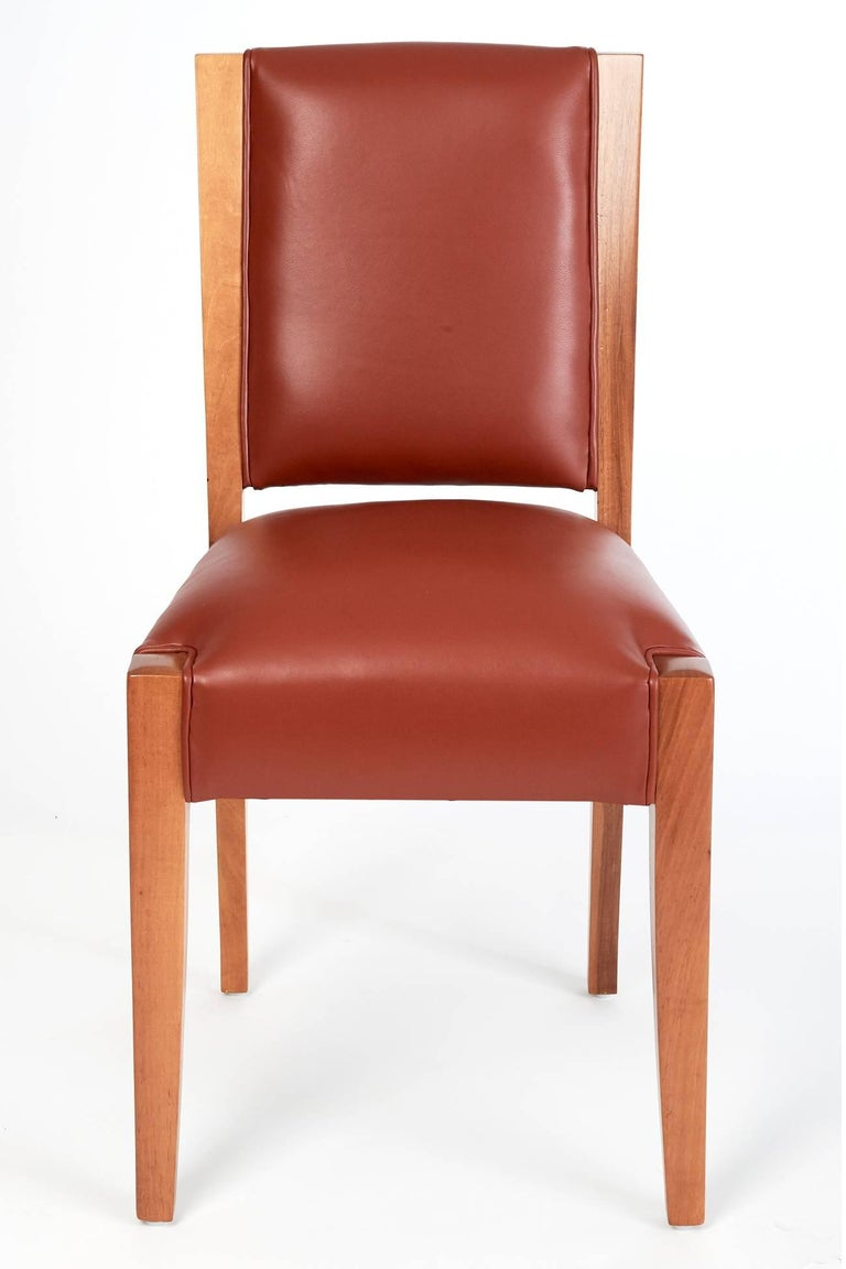 Mid-20th Century André Sornay, Important Set of Six Walnut & Leather Dining Chairs, France 1930's For Sale