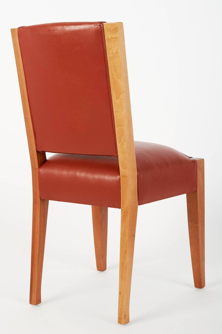 André Sornay, Important Set of Six Walnut & Leather Dining Chairs, France 1930's For Sale 1