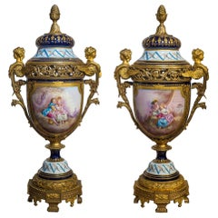 Important Sèvres Style Bronze Mounted and Cobalt Porcelain Vases