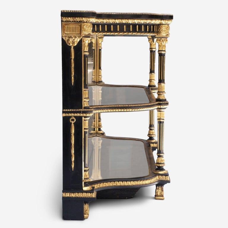 Ebonized Mirrored and Gilt Cabinet by Charles Nosotti circa 1850 For Sale 4
