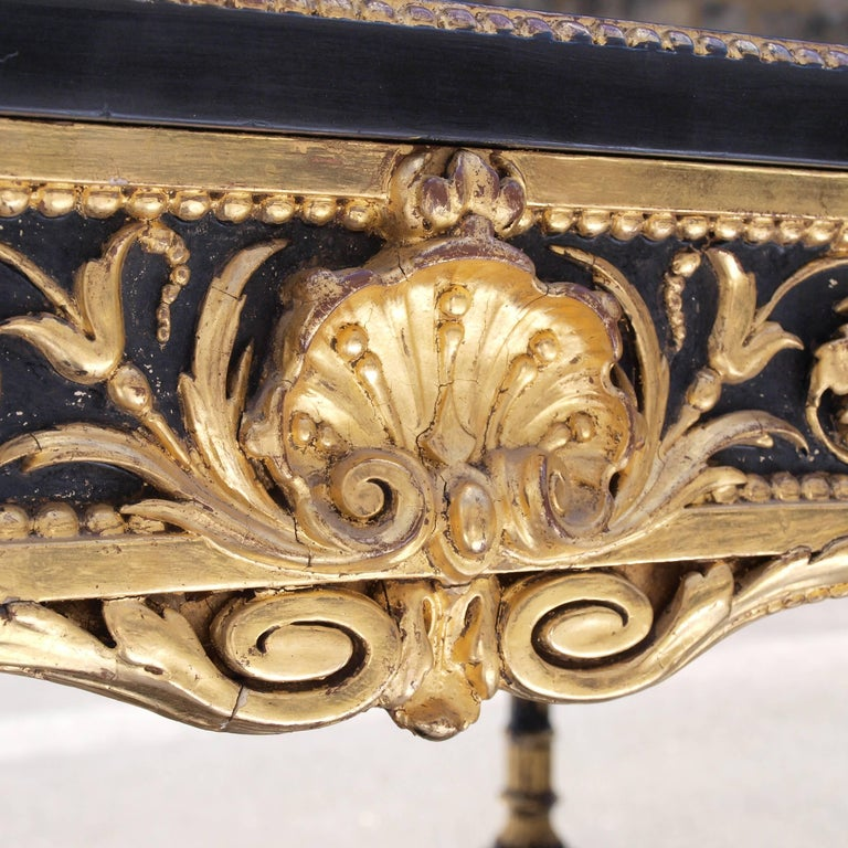 Victorian Ebonized Mirrored and Gilt Cabinet by Charles Nosotti circa 1850 For Sale