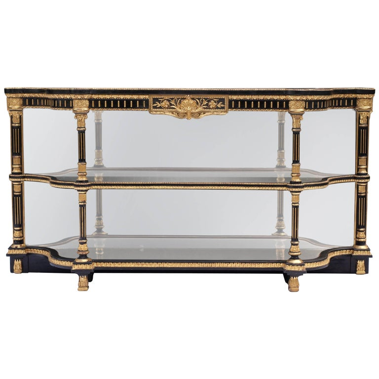 Ebonized Mirrored and Gilt Cabinet by Charles Nosotti circa 1850 For Sale