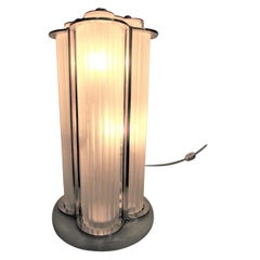 Important Signed Sabino Frosted Art Glass Table Lamp in Nickel with Brass Detail