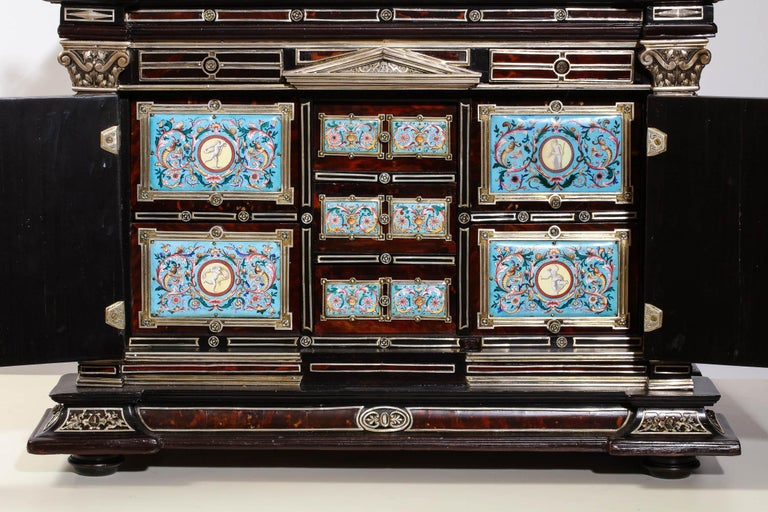 Important Silver & Viennese Enamel Mounted Tortoiseshell Jewelry Cabinet Box For Sale 7