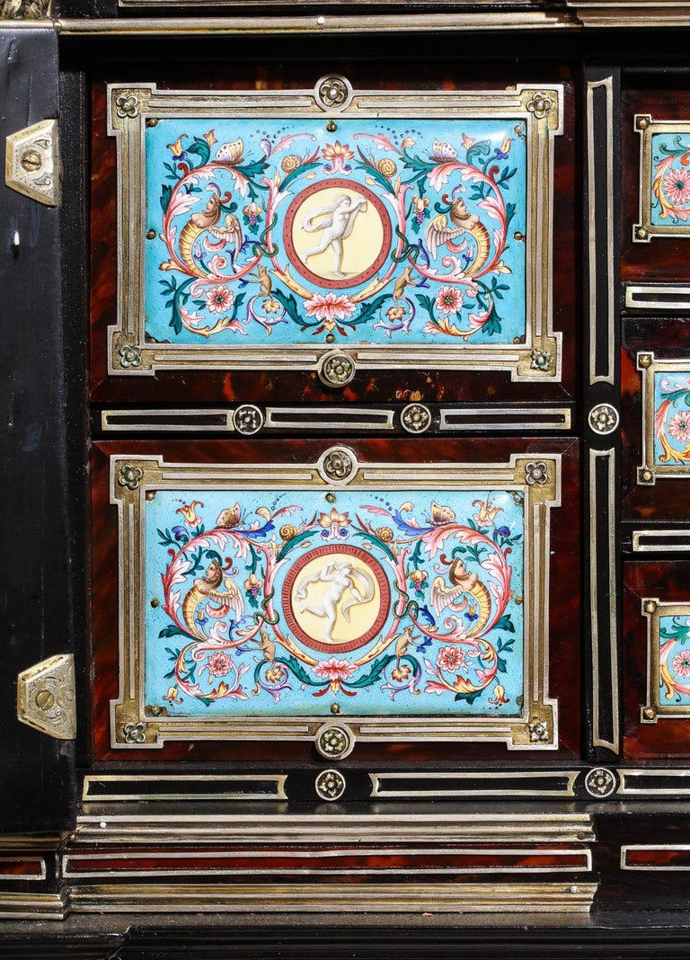 Important Silver & Viennese Enamel Mounted Tortoiseshell Jewelry Cabinet Box For Sale 8