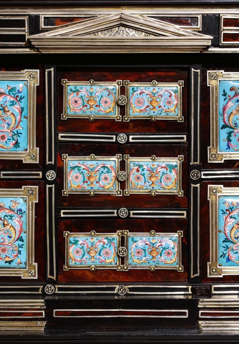 Important Silver & Viennese Enamel Mounted Tortoiseshell Jewelry Cabinet Box For Sale 9