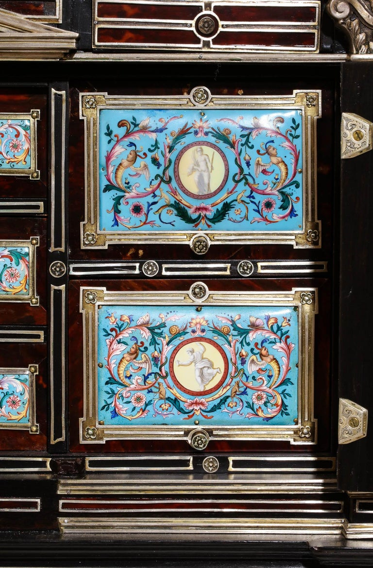 Important Silver & Viennese Enamel Mounted Tortoiseshell Jewelry Cabinet Box For Sale 10