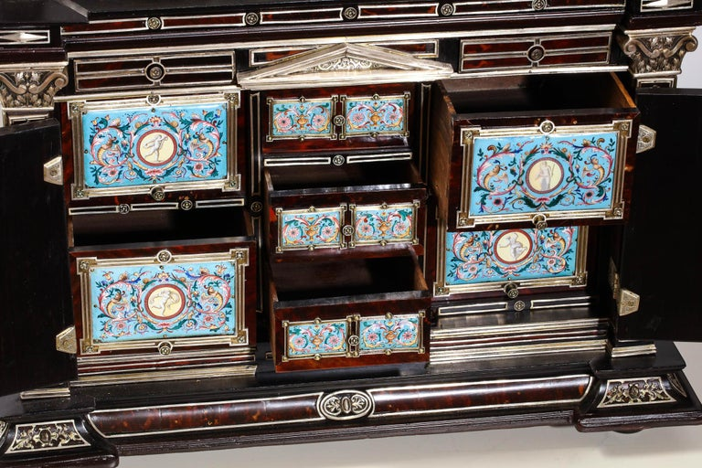 Important Silver & Viennese Enamel Mounted Tortoiseshell Jewelry Cabinet Box For Sale 11