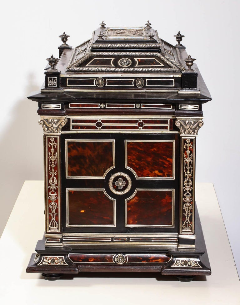 Important Silver & Viennese Enamel Mounted Tortoiseshell Jewelry Cabinet Box For Sale 12