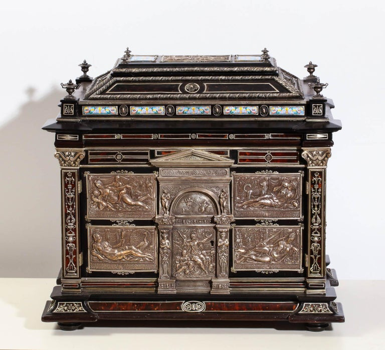 Important Silver & Viennese enamel mounted repousse tortoiseshell jewelry cabinet box in the Renaissance style.