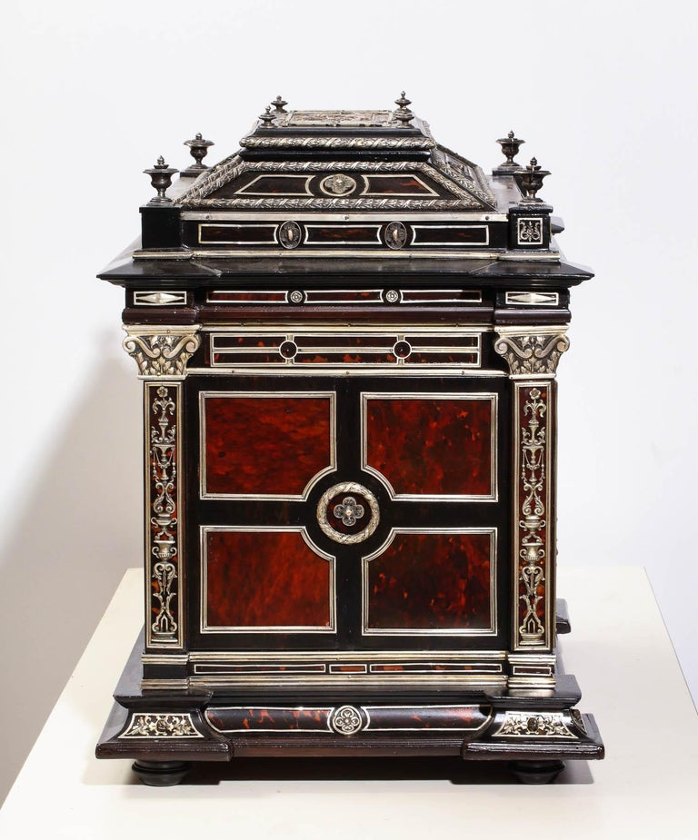 Important Silver & Viennese Enamel Mounted Tortoiseshell Jewelry Cabinet Box For Sale 14