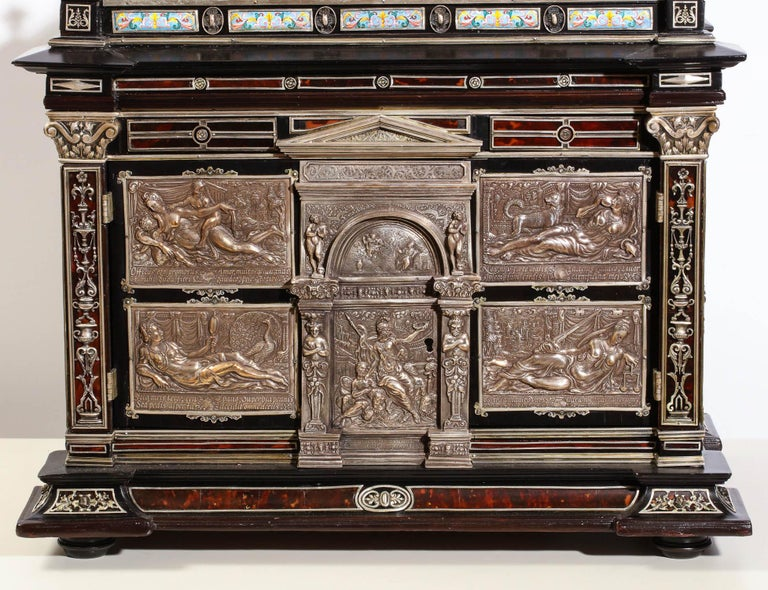 Renaissance Important Silver & Viennese Enamel Mounted Tortoiseshell Jewelry Cabinet Box For Sale