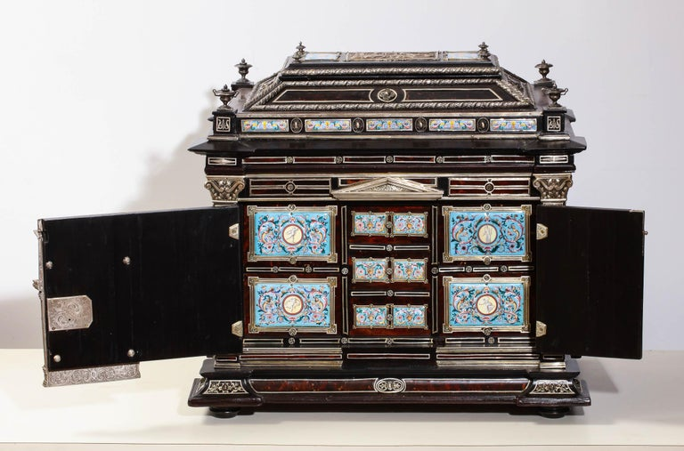 Austrian Important Silver & Viennese Enamel Mounted Tortoiseshell Jewelry Cabinet Box For Sale