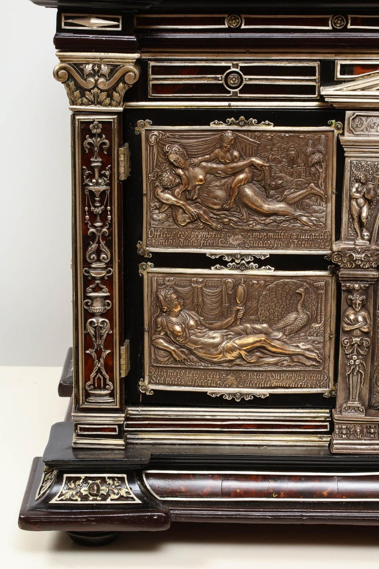 Important Silver & Viennese Enamel Mounted Tortoiseshell Jewelry Cabinet Box In Excellent Condition For Sale In New York, NY