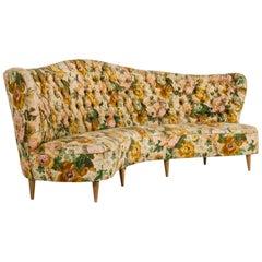 Important Sofa, Original Textile, circa 1950, Italy