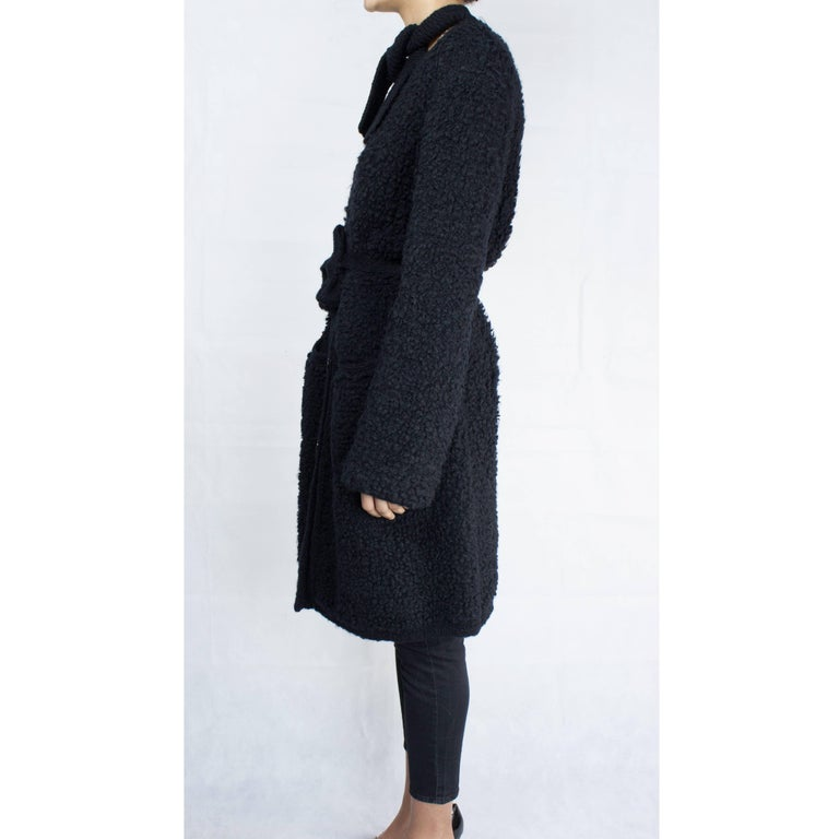 Black Important Sonia Rykiel knitted black wool coat, circa 1960s For Sale