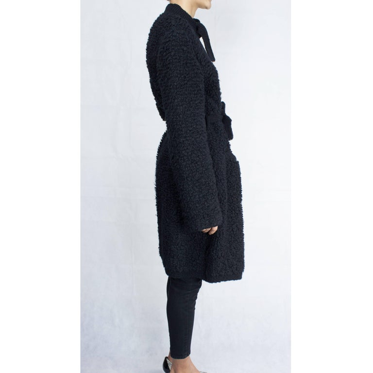 Important Sonia Rykiel knitted black wool coat, circa 1960s In Good Condition For Sale In London, GB