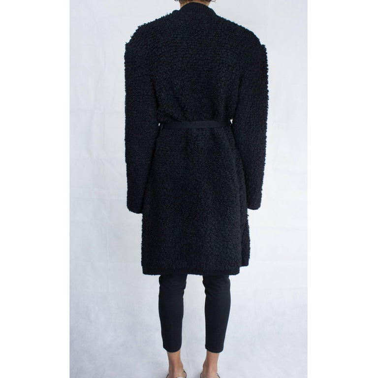 Women's Important Sonia Rykiel knitted black wool coat, circa 1960s For Sale