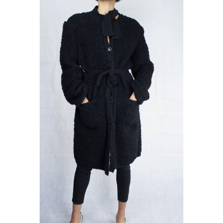 Important Sonia Rykiel knitted black wool coat, circa 1960s For Sale 1