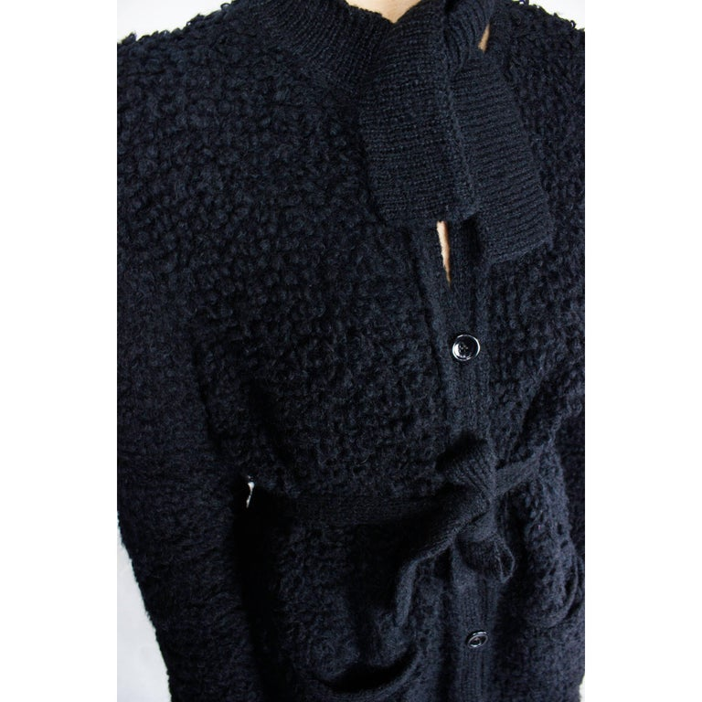 Important Sonia Rykiel knitted black wool coat, circa 1960s For Sale 2