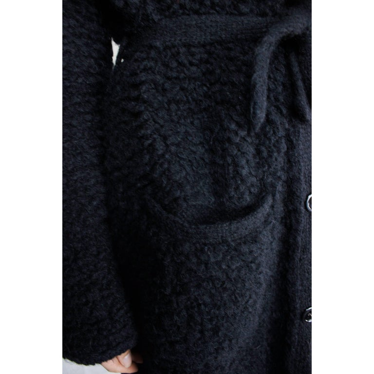 Important Sonia Rykiel knitted black wool coat, circa 1960s For Sale 3