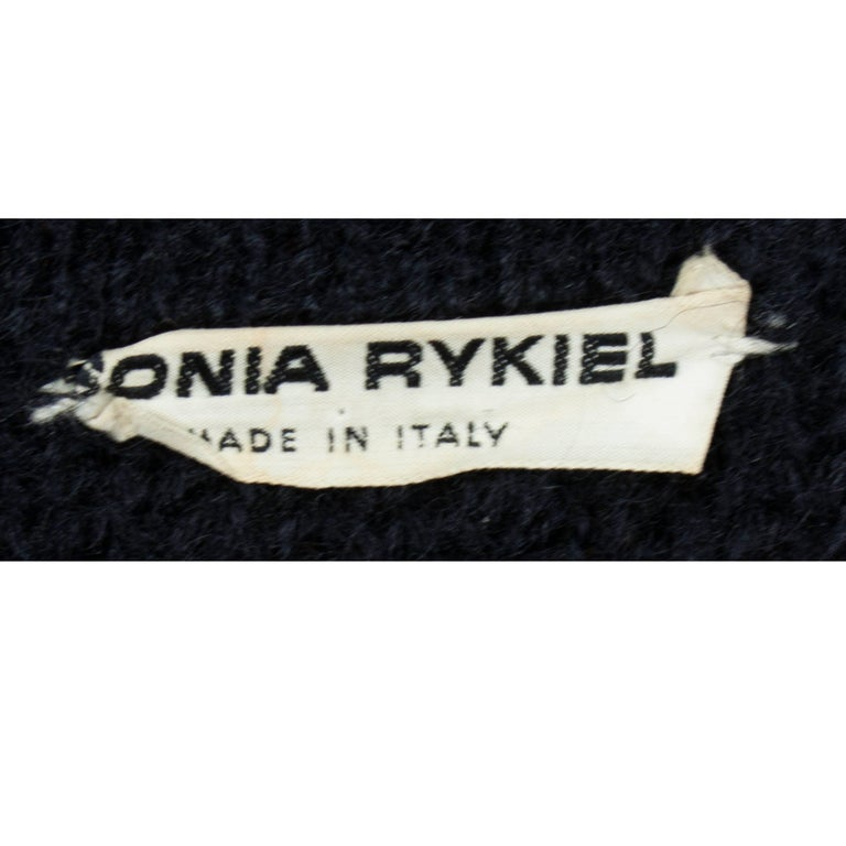 Important Sonia Rykiel knitted black wool coat, circa 1960s For Sale 4