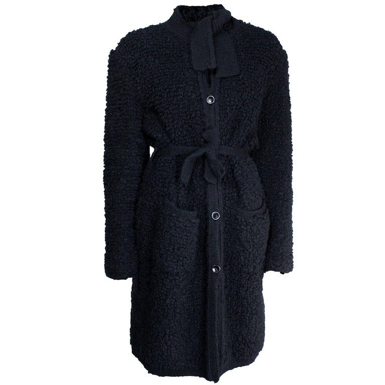 Important Sonia Rykiel knitted black wool coat, circa 1960s For Sale
